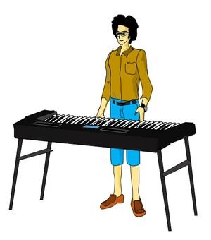 Afro hair keyboard player