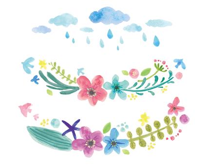 水彩画花と雨ライン