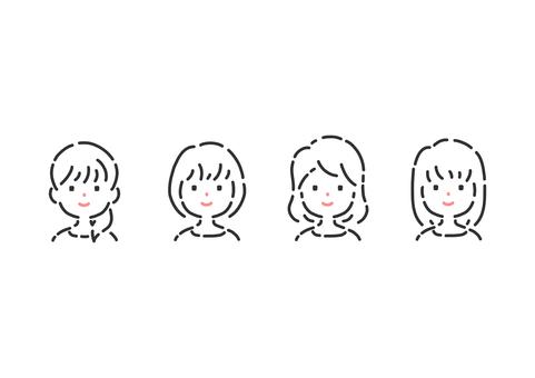 シンプルな女性の上半身イラストセット