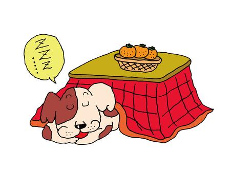 A dog sleeping in a kotatsu