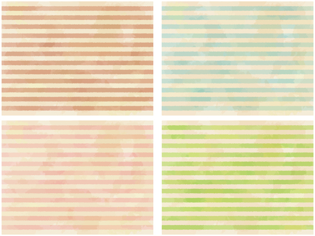 Watercolor touch background 4 color set: Border