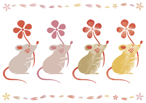 New year's card mouse illustration watercolor ink painting