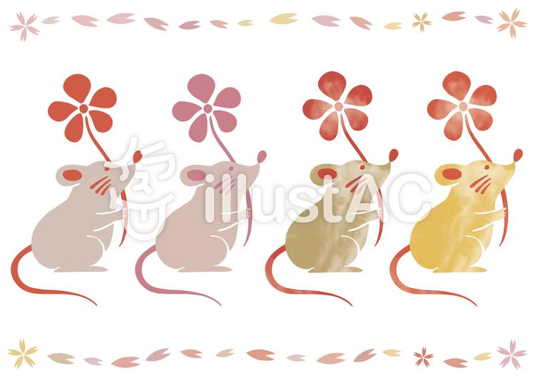 年賀状 ねずみのイラスト 水彩 墨絵 鼠のイラスト