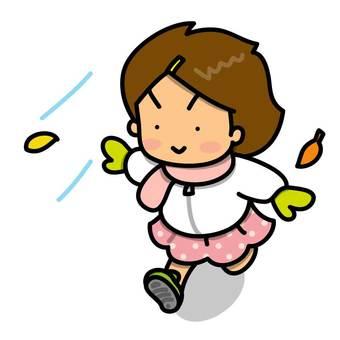 Girl running cheerfully