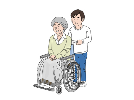 Old lady and grandchild of wheelchair