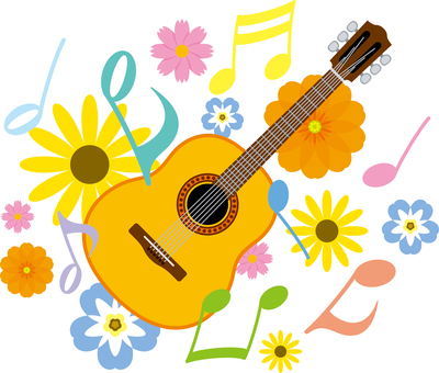 Guitar Acoustic Note Flower