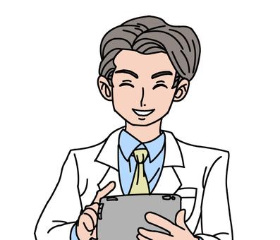 백의 남성 태블릿 4 미소