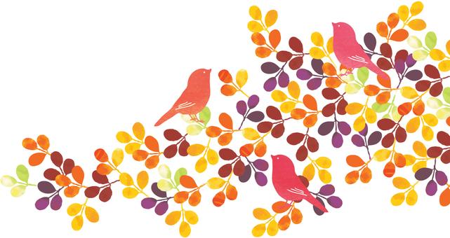 가을 잎에 띄는 작은 새들
