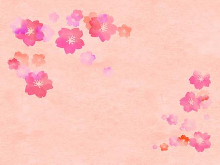 桜 Background and paper wind 1