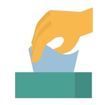 Hand grabbing tissue