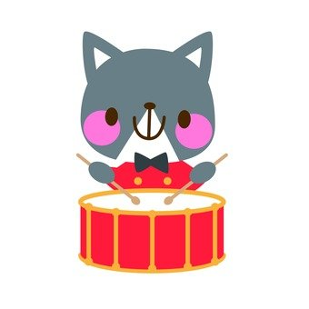 A cat tapping a drum