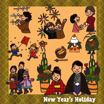 新年假期插圖包