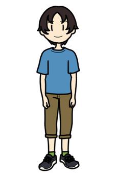 Boy wearing short sleeves