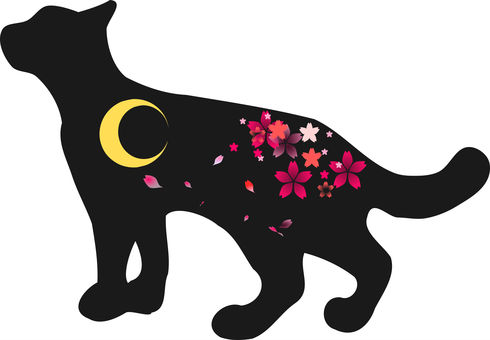 Nyanko silhouette and moon and cherry blossoms