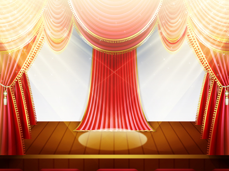 Stage Background with Light Curtain Lighting White Frame