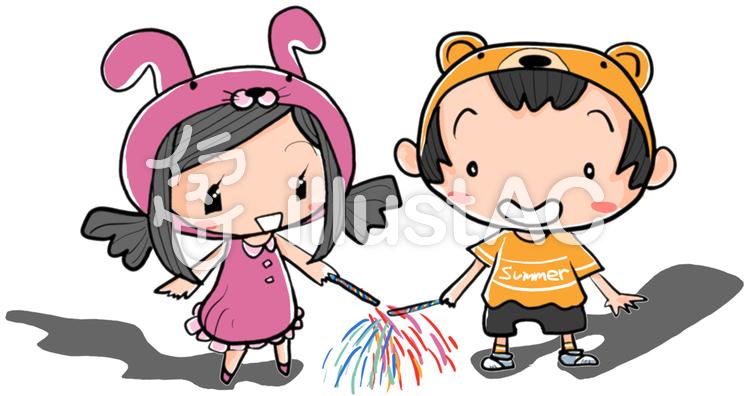 手持ち花火を楽しむ女の子と男の子のイラスト