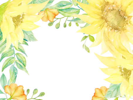 Watercolor hand-drawn sunflower frame (transparent)