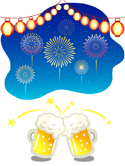Beer and fireworks illustration