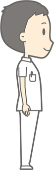 Male nurse - standing right beside - whole body