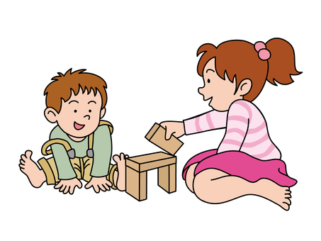Sister brothers who do building blocks (siblings)