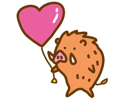 Boar with heart balloon