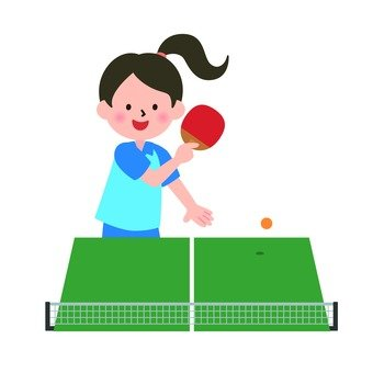 A girl playing table tennis