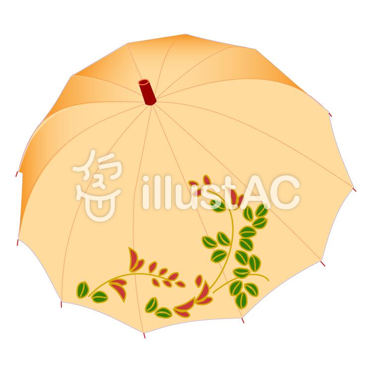 日傘 クリーム色のイラスト