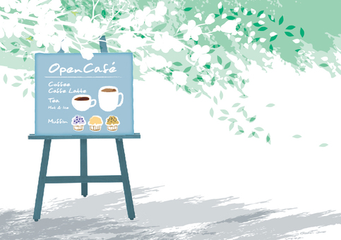 Open cafe illustration White flowers AI present