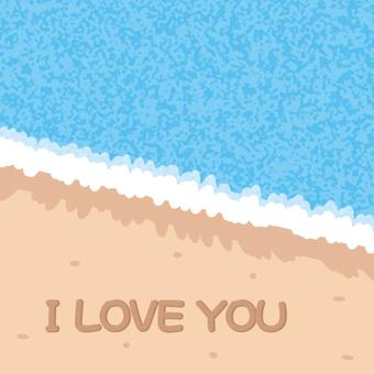I wrote on a sandy beach I LOVE YOU