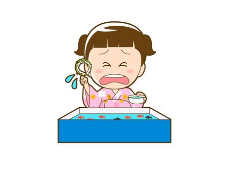 Summer _ Goldfish scoop girl in yukata _ 008