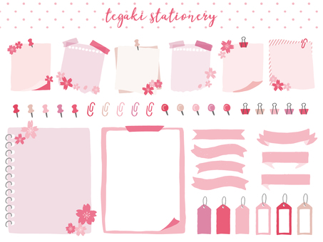 Spring hand drawn style stationery material