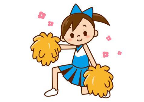 Cheer Girl - Deciding pose light blue color