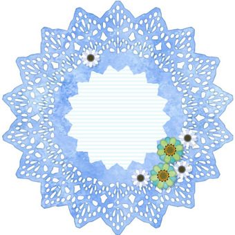 Lace decorative frame blue