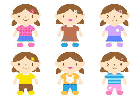 Girl illustration set