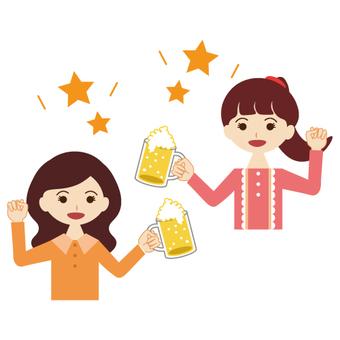 Cheers with beer! Image of women