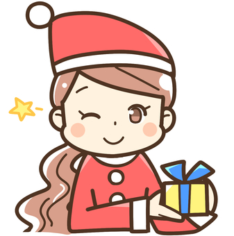 A woman giving a present