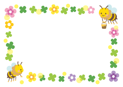 Honey bee and clover frame