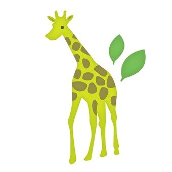 Giraffe and leaves