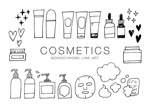 Cosmetic monochrome line drawing 000