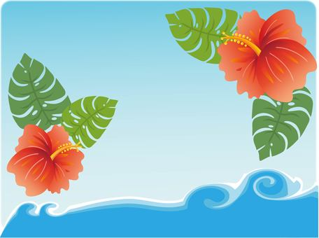 Hibiscus and the sea