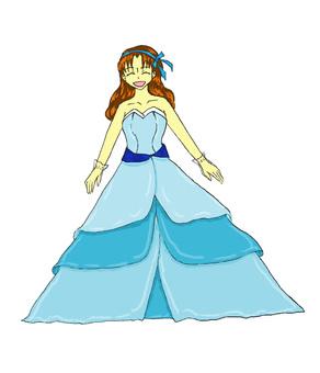 一件彩色連衣裙的女人