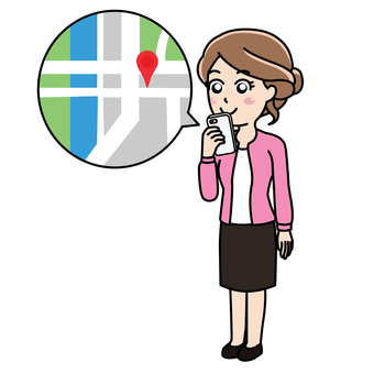 A woman looking at a map application