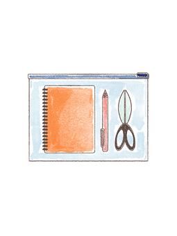 文房具セット手書き風イラスト