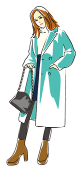 Woman in coat (PNG background transparent)