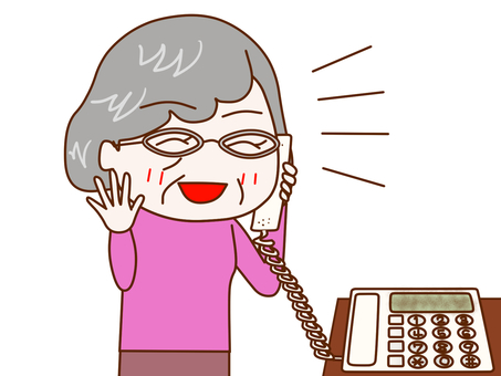 A grandmother who talks happily on the phone