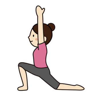 """A woman who poses """"crescent moon"""" with yoga"""