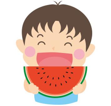 Boys eat watermelon 2