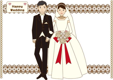 Bride and groom (dress, tuxedo)