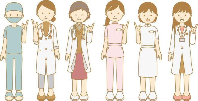 Medical female illustration finger pointing