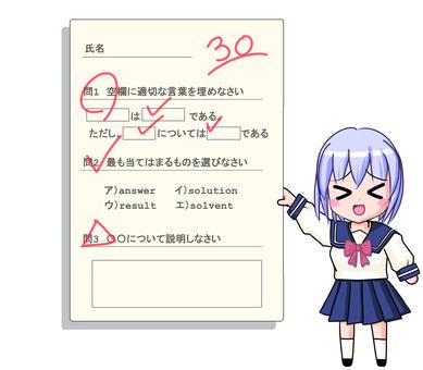 Female student 1B summer dress> ヮ <30 points answer
